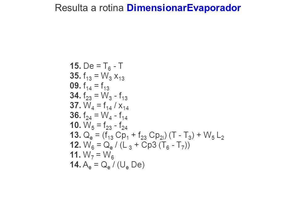 Resulta a rotina DimensionarEvaporador