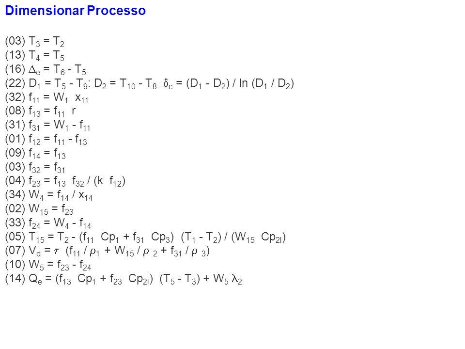 Dimensionar Processo (03) T3 = T2 (13) T4 = T5 (16) e = T6 - T5