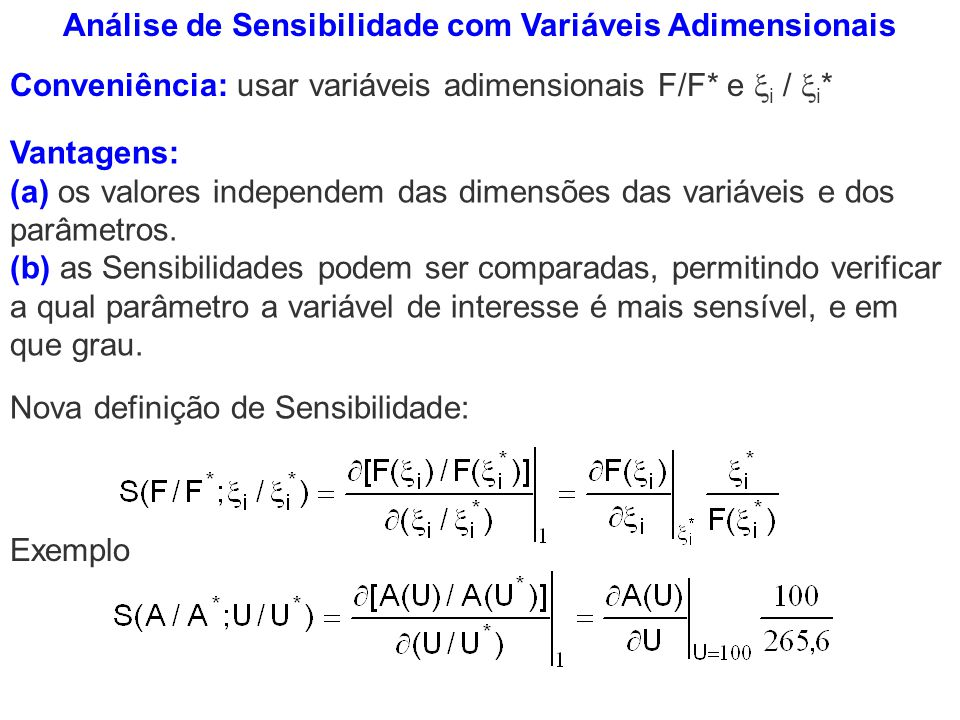 Análise de Sensibilidade com Variáveis Adimensionais