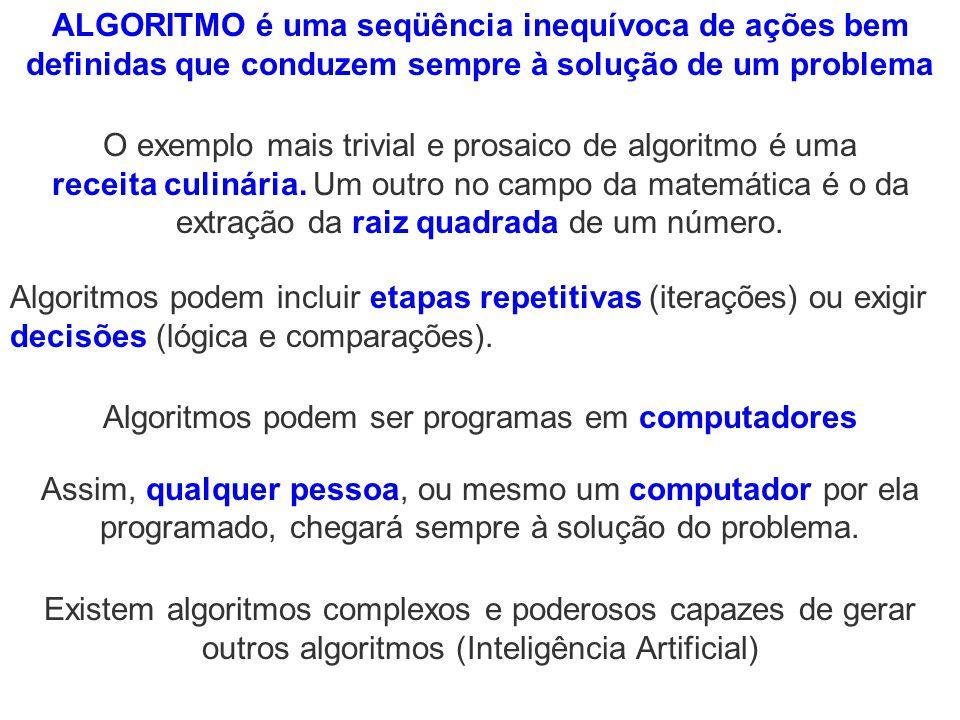 Algoritmos podem ser programas em computadores