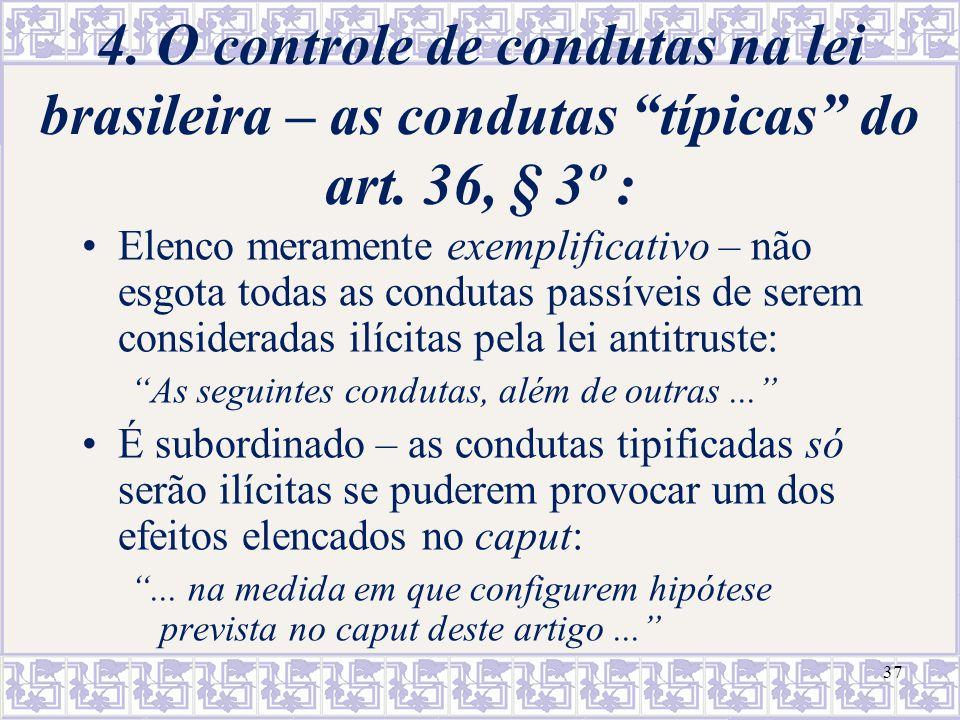 4. O controle de condutas na lei brasileira – as condutas típicas do art. 36, § 3º :