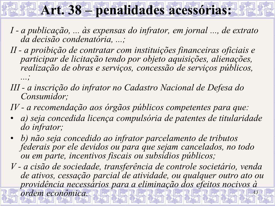Art. 38 – penalidades acessórias: