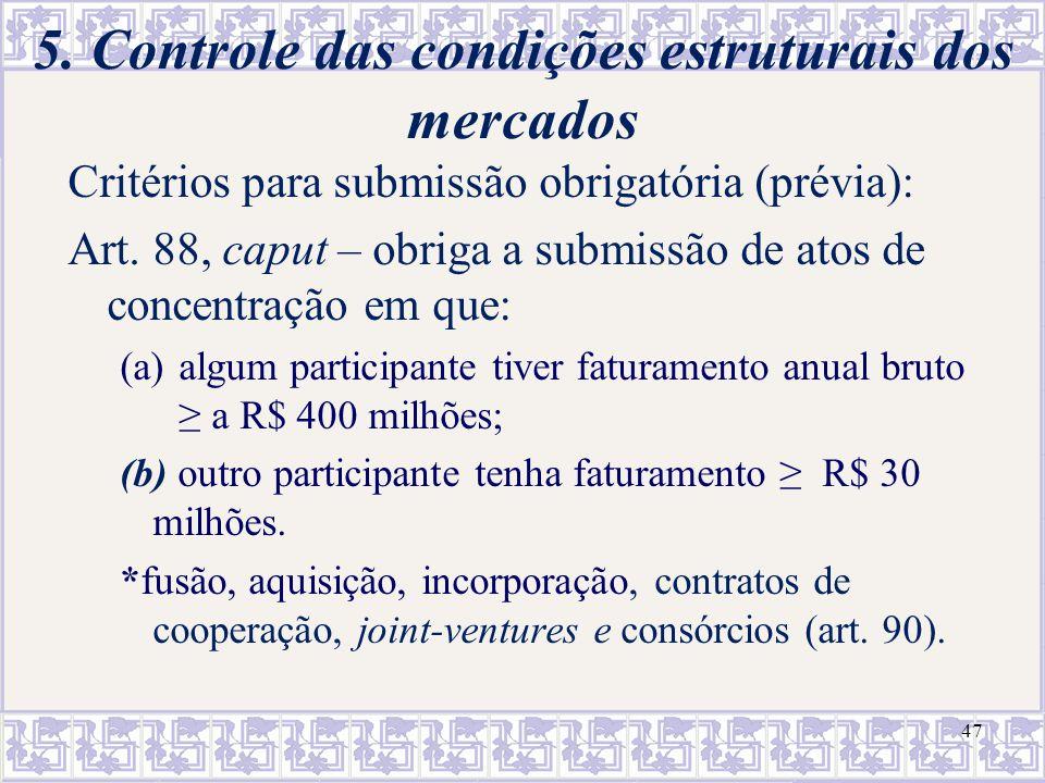 5. Controle das condições estruturais dos mercados