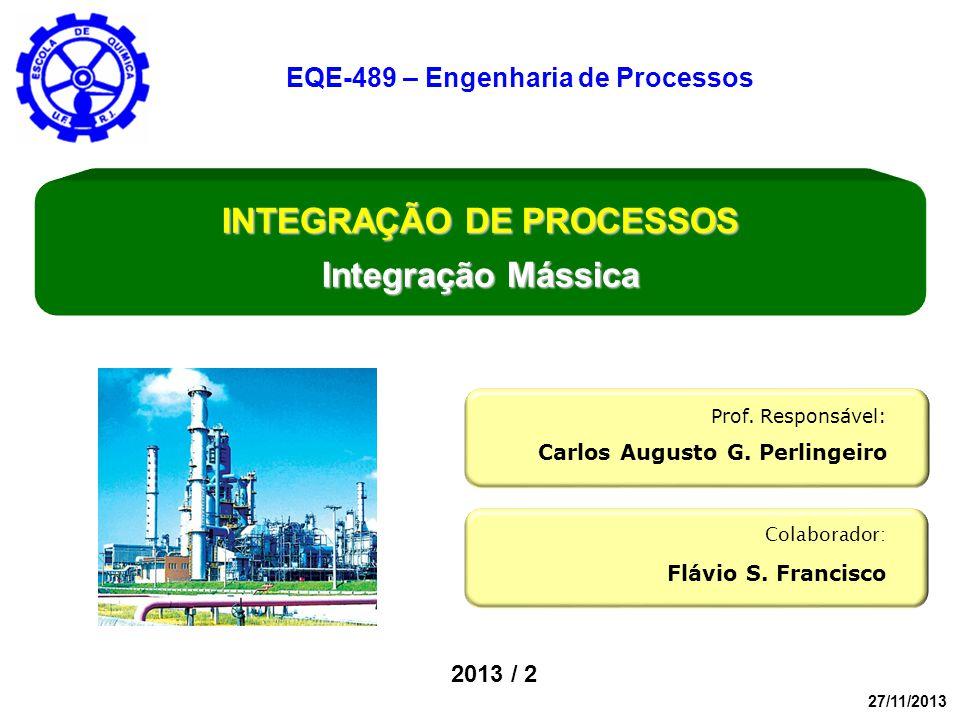 EQE-489 – Engenharia de Processos INTEGRAÇÃO DE PROCESSOS