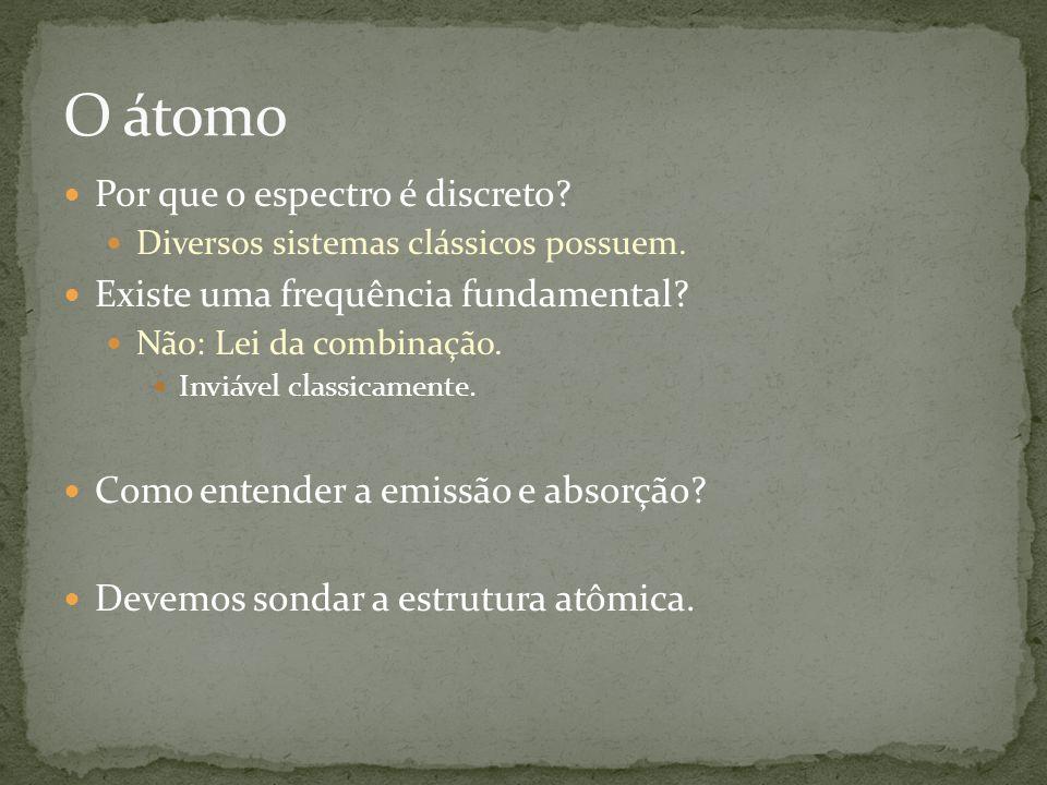 O átomo Por que o espectro é discreto