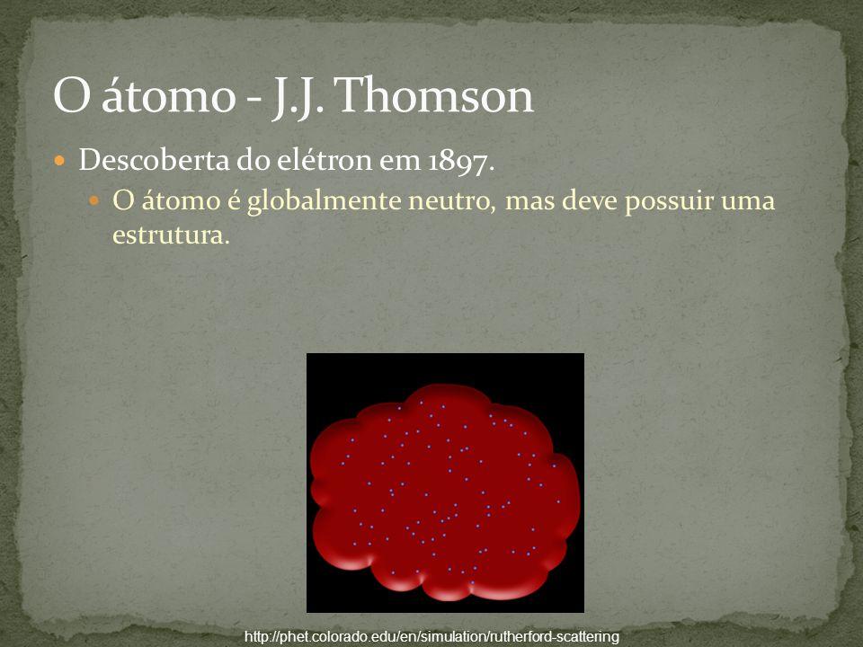 O átomo - J.J. Thomson Descoberta do elétron em 1897.