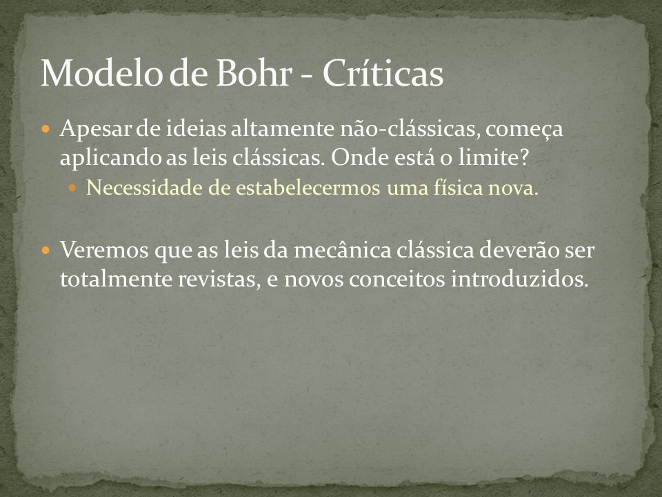 Modelo de Bohr - Críticas