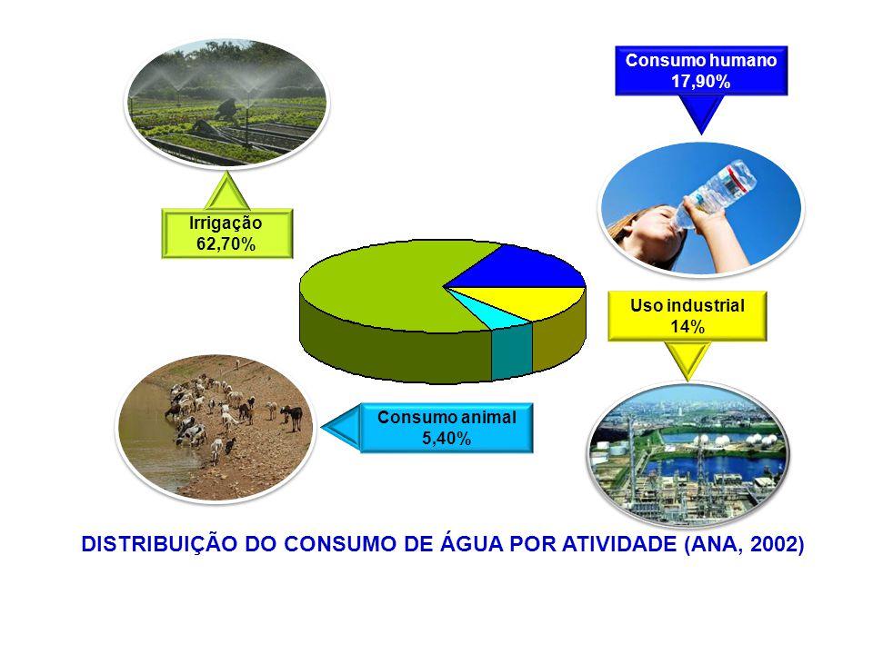DISTRIBUIÇÃO DO CONSUMO DE ÁGUA POR ATIVIDADE (ANA, 2002)