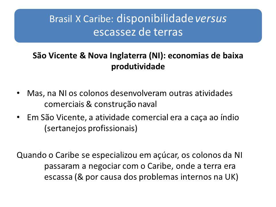São Vicente & Nova Inglaterra (NI): economias de baixa produtividade