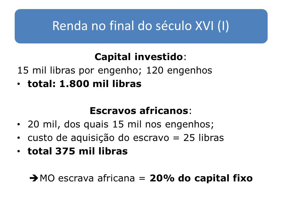 Renda no final do século XVI (I)