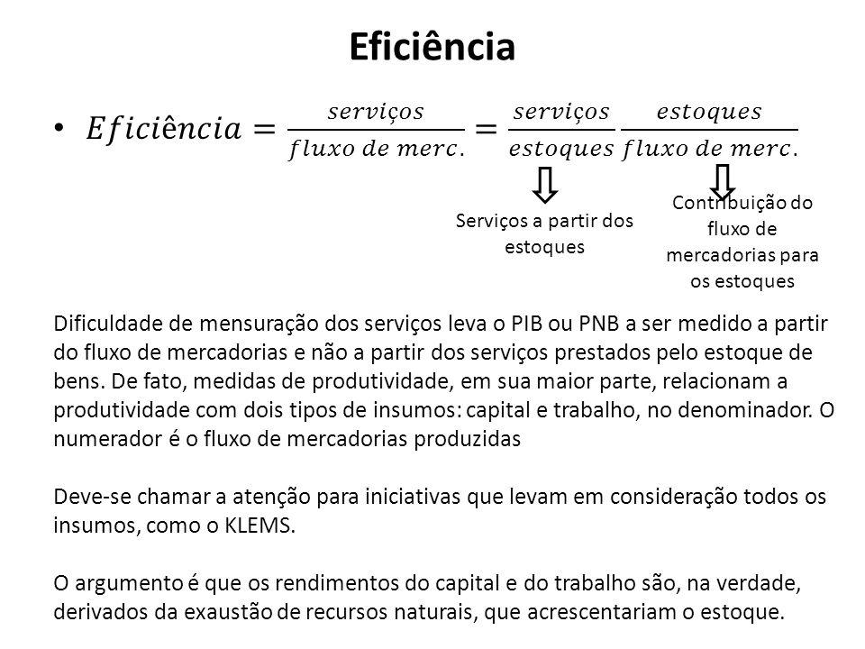 Eficiência 𝐸𝑓𝑖𝑐𝑖ê𝑛𝑐𝑖𝑎= 𝑠𝑒𝑟𝑣𝑖ç𝑜𝑠 𝑓𝑙𝑢𝑥𝑜 𝑑𝑒 𝑚𝑒𝑟𝑐. = 𝑠𝑒𝑟𝑣𝑖ç𝑜𝑠 𝑒𝑠𝑡𝑜𝑞𝑢𝑒𝑠 𝑒𝑠𝑡𝑜𝑞𝑢𝑒𝑠 𝑓𝑙𝑢𝑥𝑜 𝑑𝑒 𝑚𝑒𝑟𝑐. Contribuição do fluxo de mercadorias para os estoques.