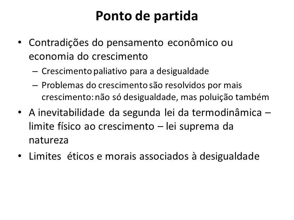 Ponto de partida Contradições do pensamento econômico ou economia do crescimento. Crescimento paliativo para a desigualdade.