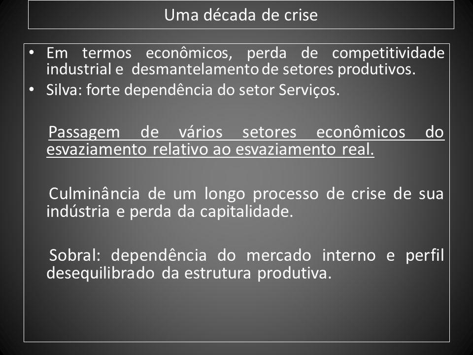 Uma década de crise Em termos econômicos, perda de competitividade industrial e desmantelamento de setores produtivos.