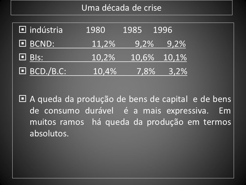Uma década de crise indústria 1980 1985 1996. BCND: 11,2% 9,2% 9,2%