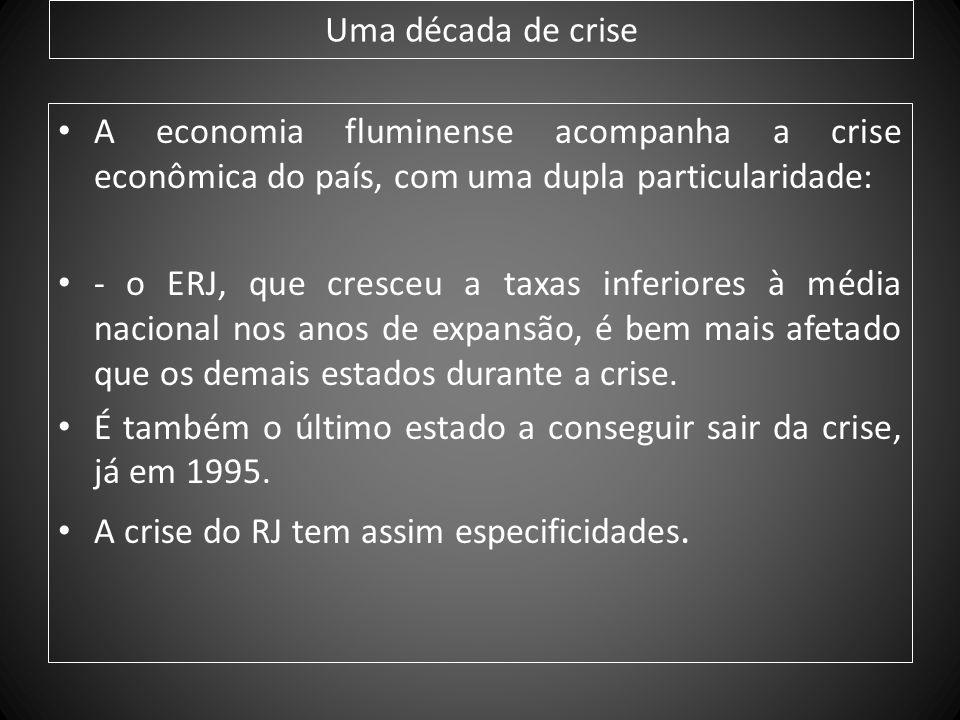 Uma década de crise A economia fluminense acompanha a crise econômica do país, com uma dupla particularidade: