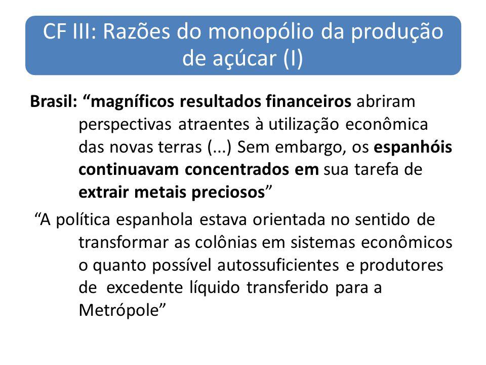CF III: Razões do monopólio da produção de açúcar (I)