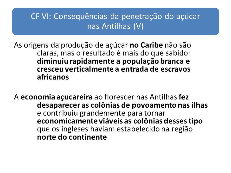CF VI: Consequências da penetração do açúcar nas Antilhas (V)