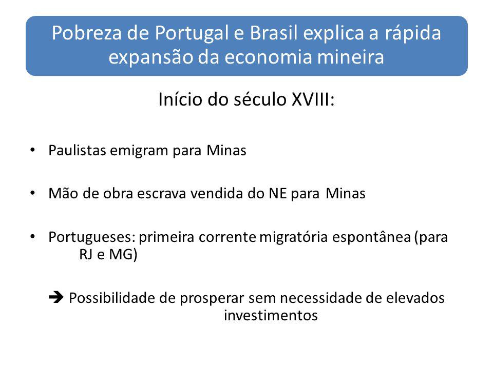 Pobreza de Portugal e Brasil explica a rápida expansão da economia mineira