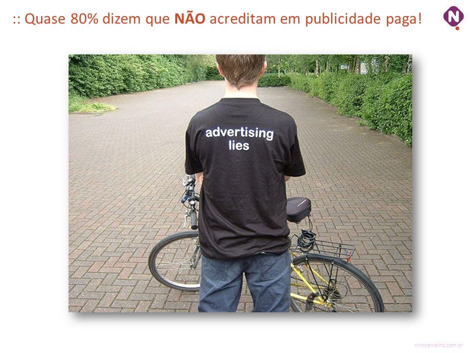 :: Quase 80% dizem que NÃO acreditam em publicidade paga!