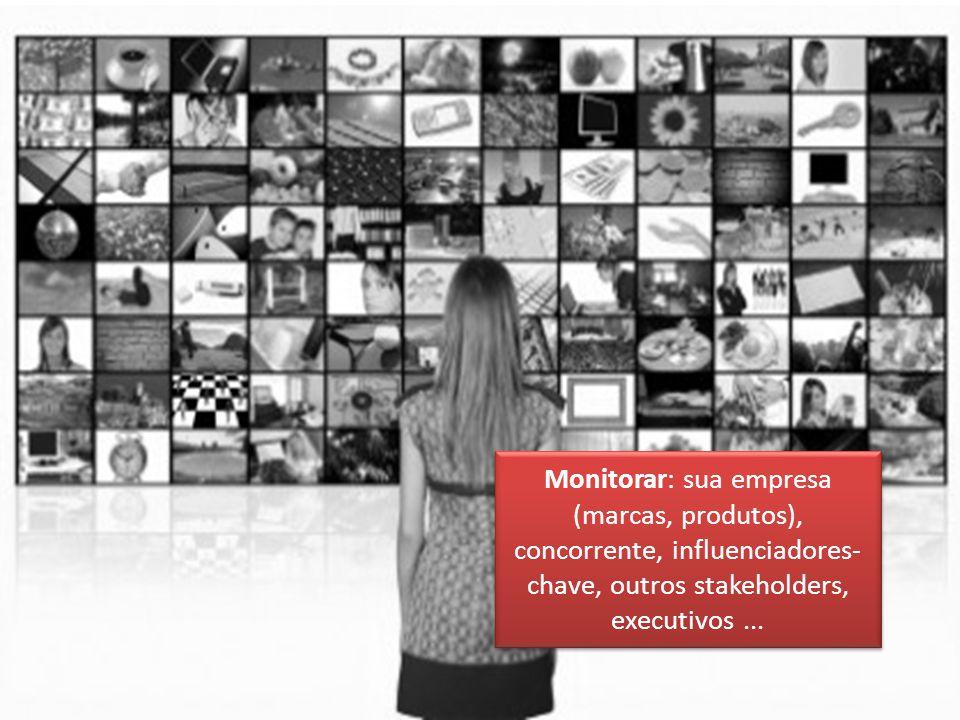 Monitorar: sua empresa (marcas, produtos), concorrente, influenciadores-chave, outros stakeholders, executivos ...