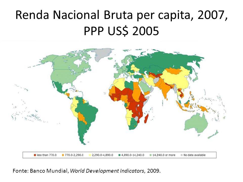 Renda Nacional Bruta per capita, 2007, PPP US$ 2005