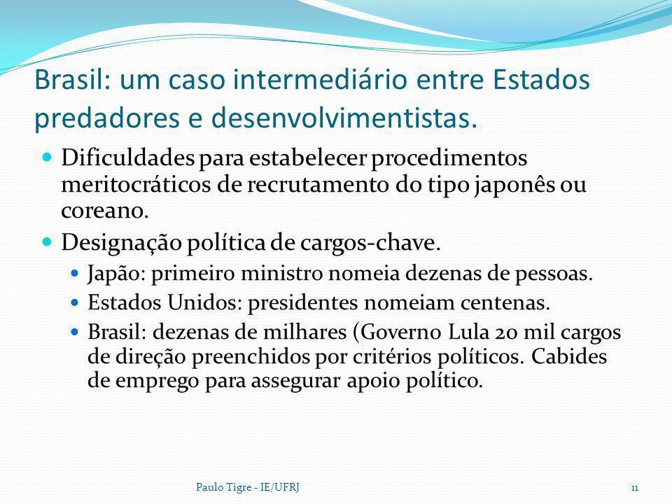 Brasil: um caso intermediário entre Estados predadores e desenvolvimentistas.