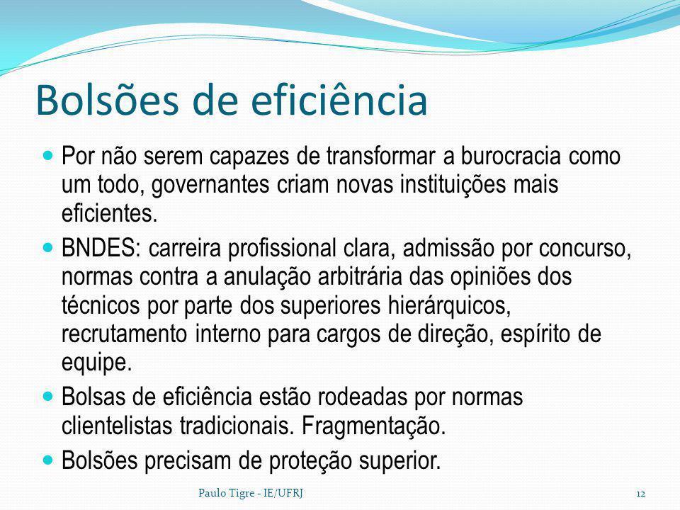 Bolsões de eficiência Por não serem capazes de transformar a burocracia como um todo, governantes criam novas instituições mais eficientes.