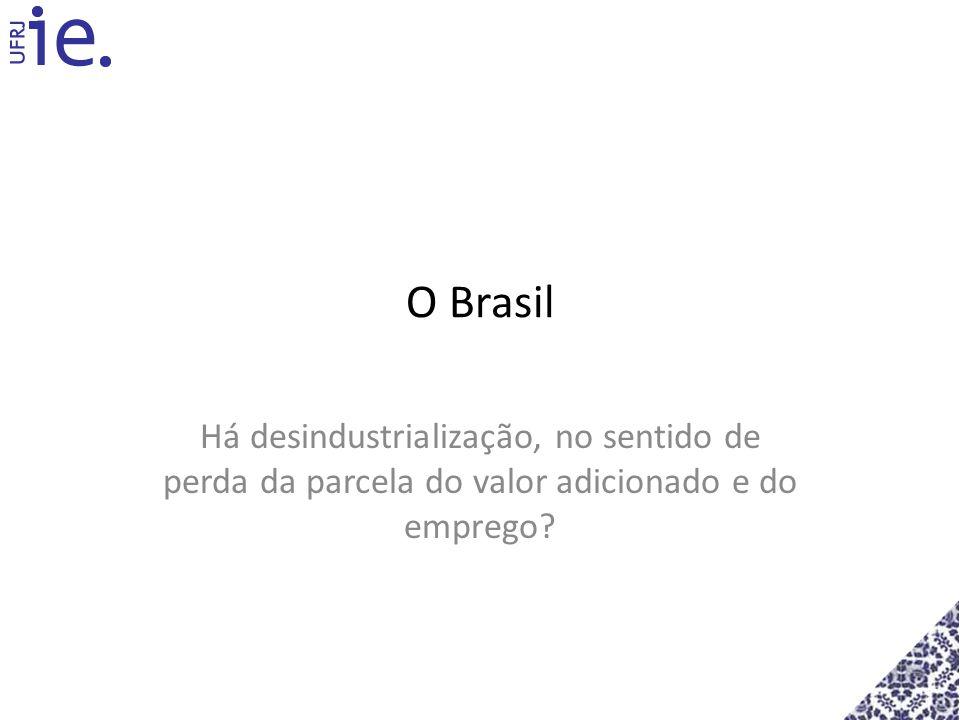 O Brasil Há desindustrialização, no sentido de perda da parcela do valor adicionado e do emprego