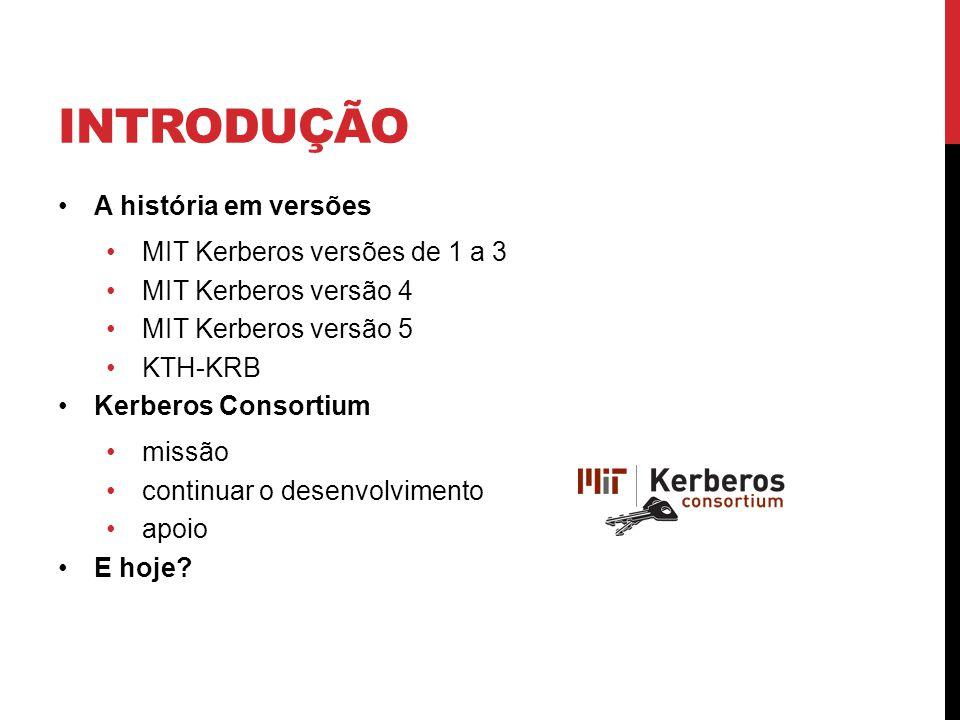 Introdução A história em versões MIT Kerberos versões de 1 a 3