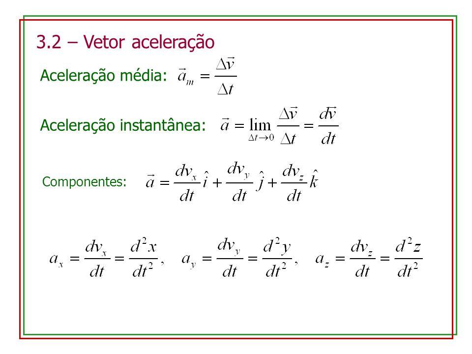3.2 – Vetor aceleração Aceleração média: Aceleração instantânea: