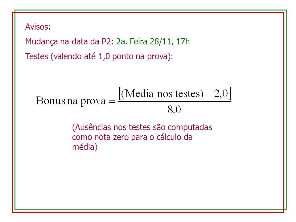 Avisos: Mudança na data da P2: 2a. Feira 28/11, 17h. Testes (valendo até 1,0 ponto na prova):