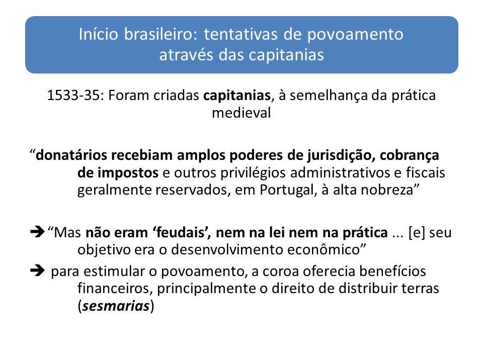 Início brasileiro: tentativas de povoamento através das capitanias