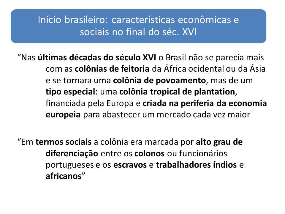 Início brasileiro: características econômicas e sociais no final do séc. XVI
