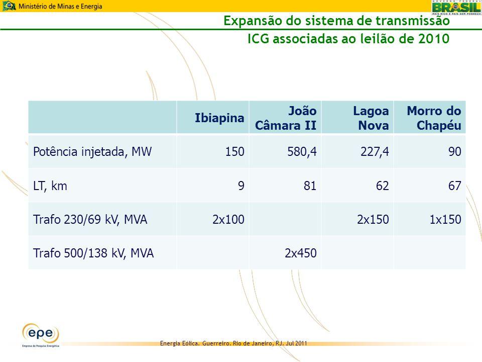 Expansão do sistema de transmissão ICG associadas ao leilão de 2010