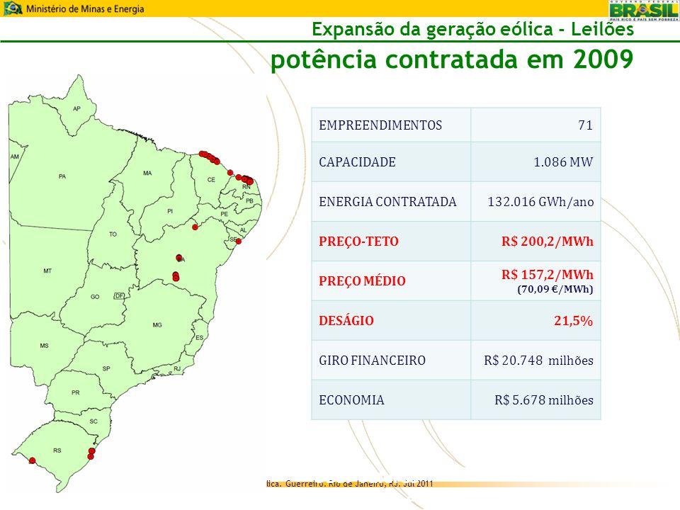 Expansão da geração eólica - Leilões potência contratada em 2009