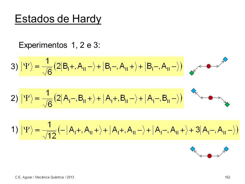Estados de Hardy Experimentos 1, 2 e 3: 3) 2) 1)