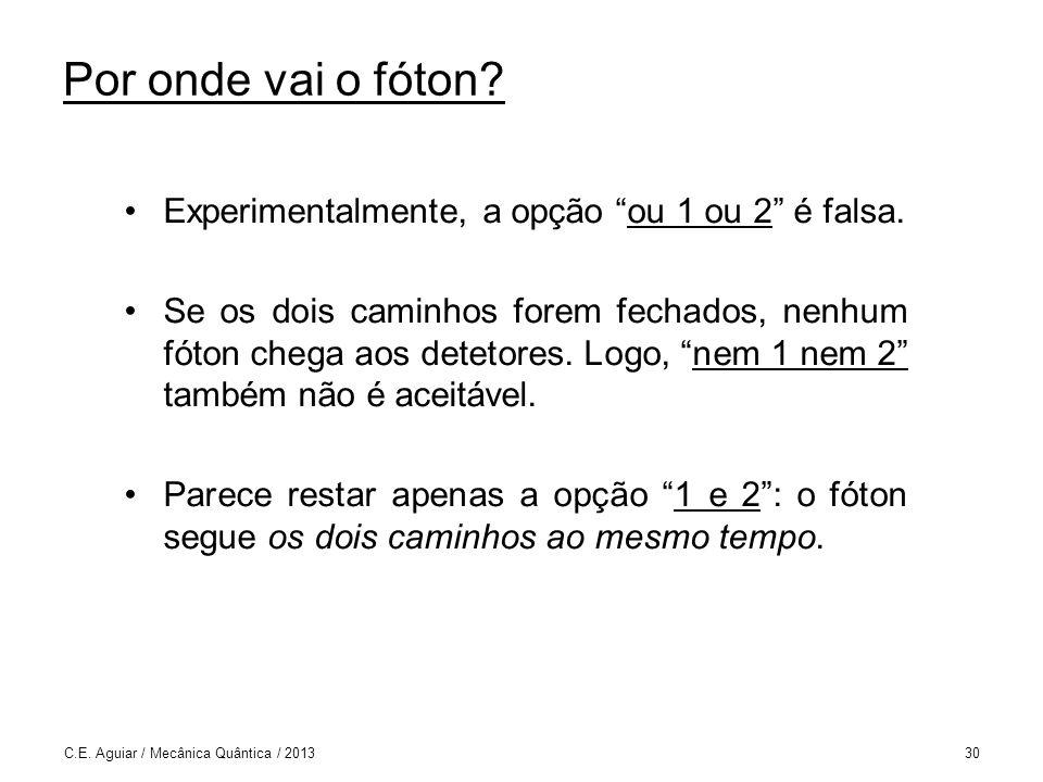 Por onde vai o fóton Experimentalmente, a opção ou 1 ou 2 é falsa.
