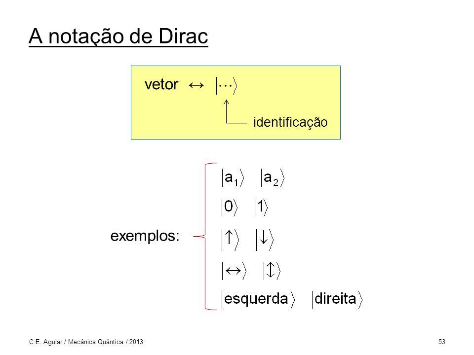 A notação de Dirac vetor ↔ exemplos: identificação