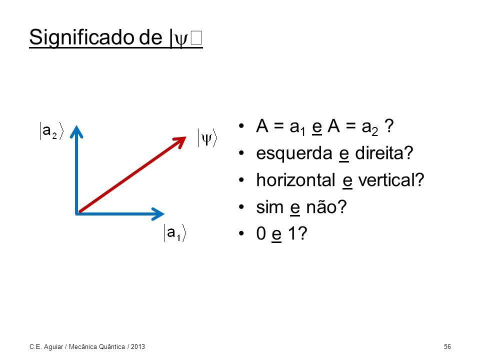 Significado de |ñ A = a1 e A = a2 esquerda e direita