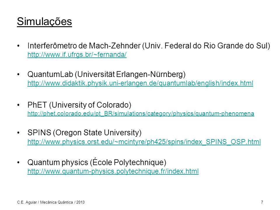 Simulações Interferômetro de Mach-Zehnder (Univ. Federal do Rio Grande do Sul) http://www.if.ufrgs.br/~fernanda/