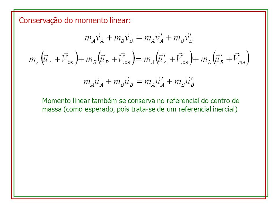 Conservação do momento linear: