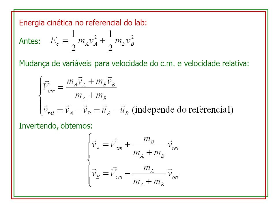 Energia cinética no referencial do lab: