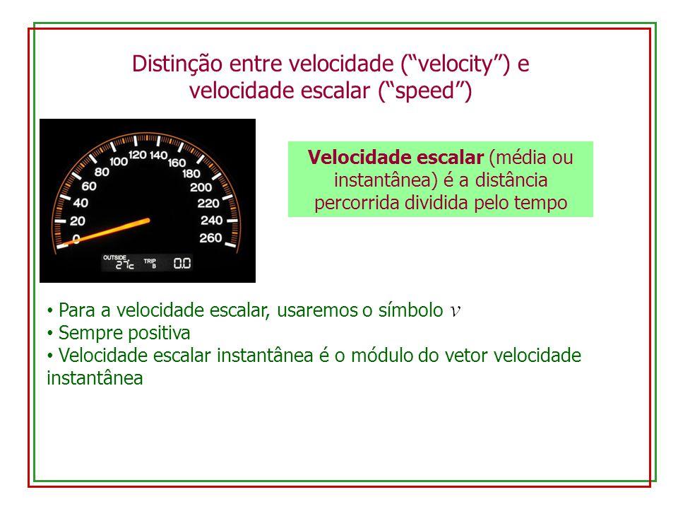 Distinção entre velocidade ( velocity ) e velocidade escalar ( speed )