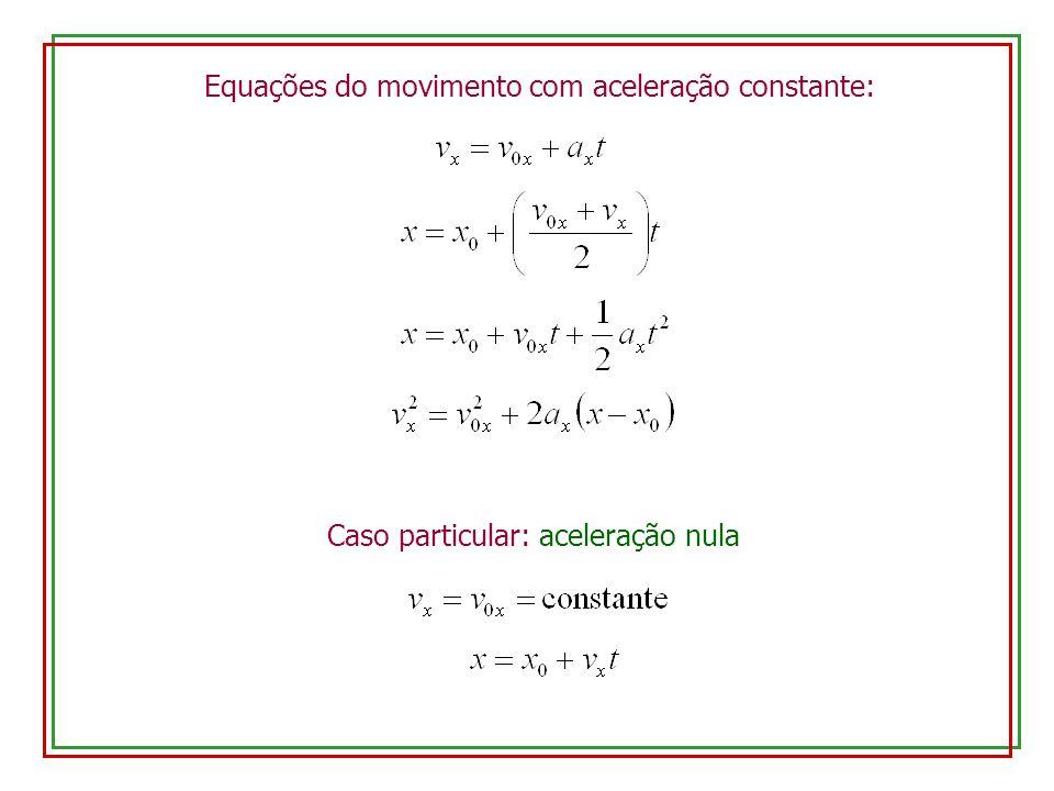 Equações do movimento com aceleração constante: