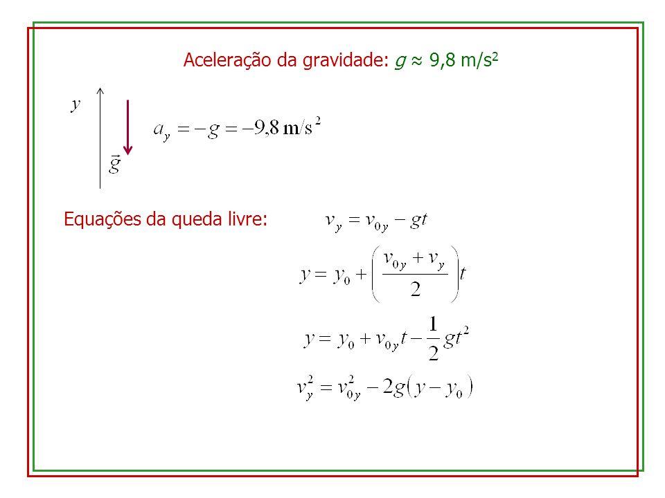 Aceleração da gravidade: g ≈ 9,8 m/s2