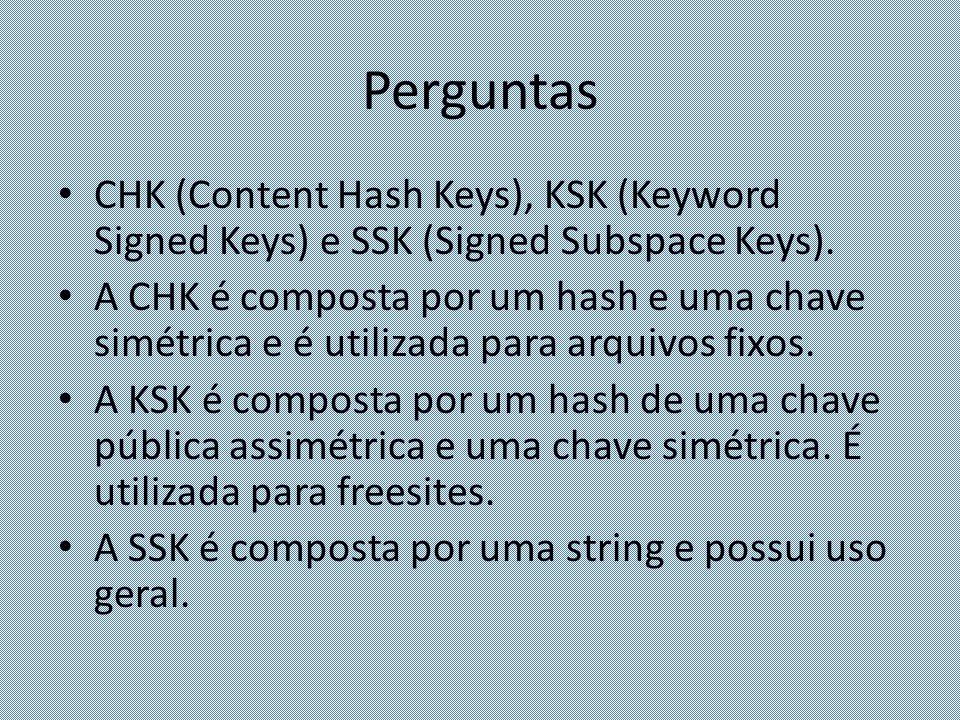 Perguntas CHK (Content Hash Keys), KSK (Keyword Signed Keys) e SSK (Signed Subspace Keys).