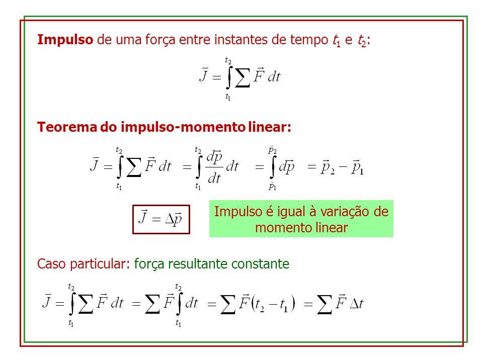 Impulso é igual à variação de momento linear