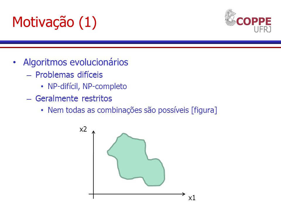 Motivação (1) Algoritmos evolucionários Problemas difíceis
