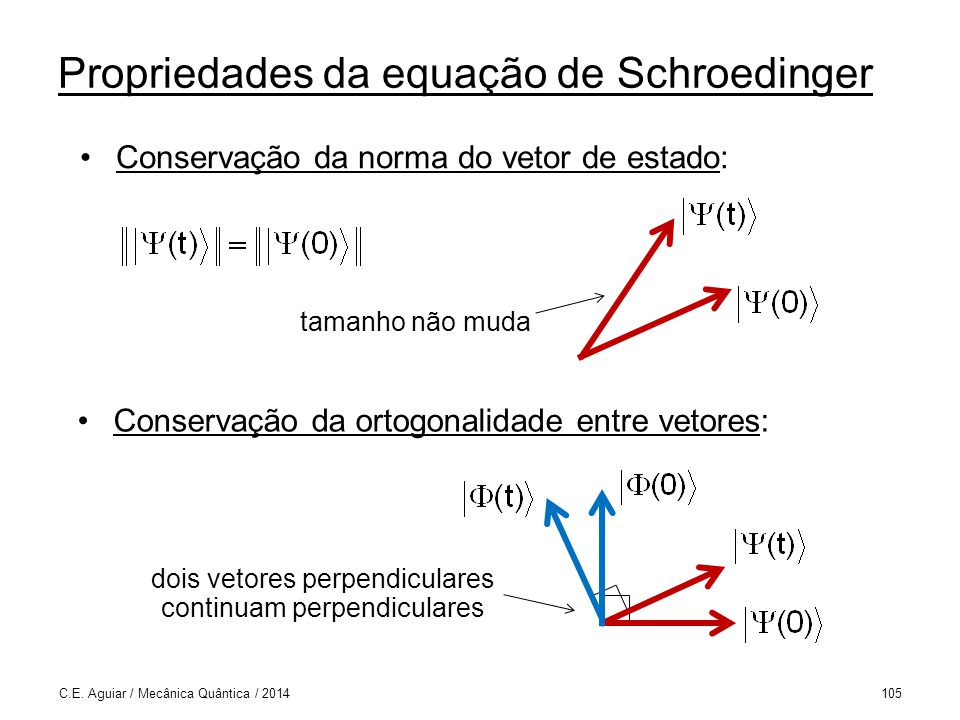 Propriedades da equação de Schroedinger