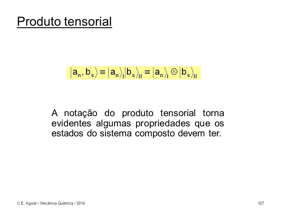 Produto tensorial A notação do produto tensorial torna evidentes algumas propriedades que os estados do sistema composto devem ter.